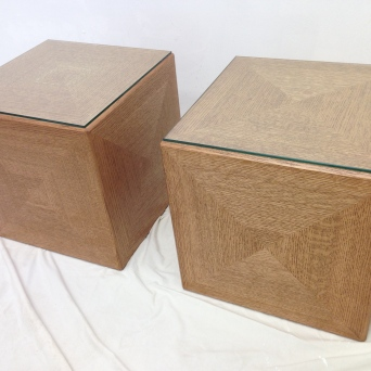 Coffee table cubes, rift-sawn red oak with glass tops
