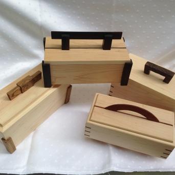 Small boxes; Maple with Ebony, Bocote, Chechen, Cocobolo