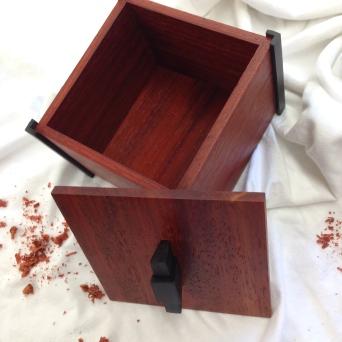 Commemorative box; Paduak, Ebony