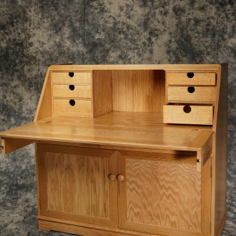 Secretary bookcase; Red Oak