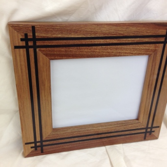 """Picture frame for 8x10 photograph, 10x12"""", argentine rosewood and ebony."""