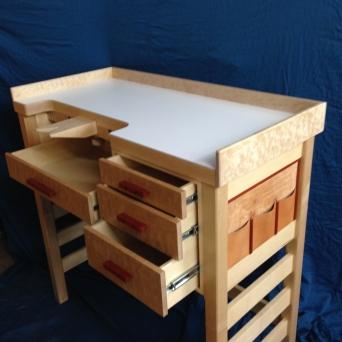 Jeweler's bench: curly maple, pillow maple, bubinga, ebony, leather, white laminate