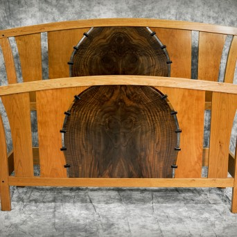 Art Deco bed; Black cherry, claro walnut, Gaboon ebony